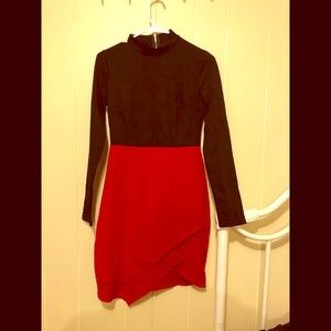 Black and red color block dress